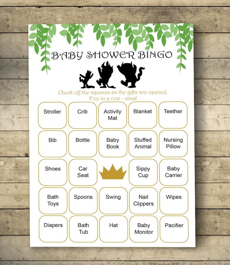 Where The Wild Things Are Baby Shower Bingo Cards Bingo Etsy