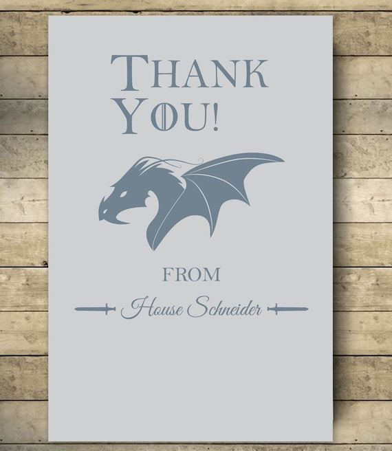 Baby Shower Karte Text.Thank You Cards Game Of Thrones Baby Shower Digital File