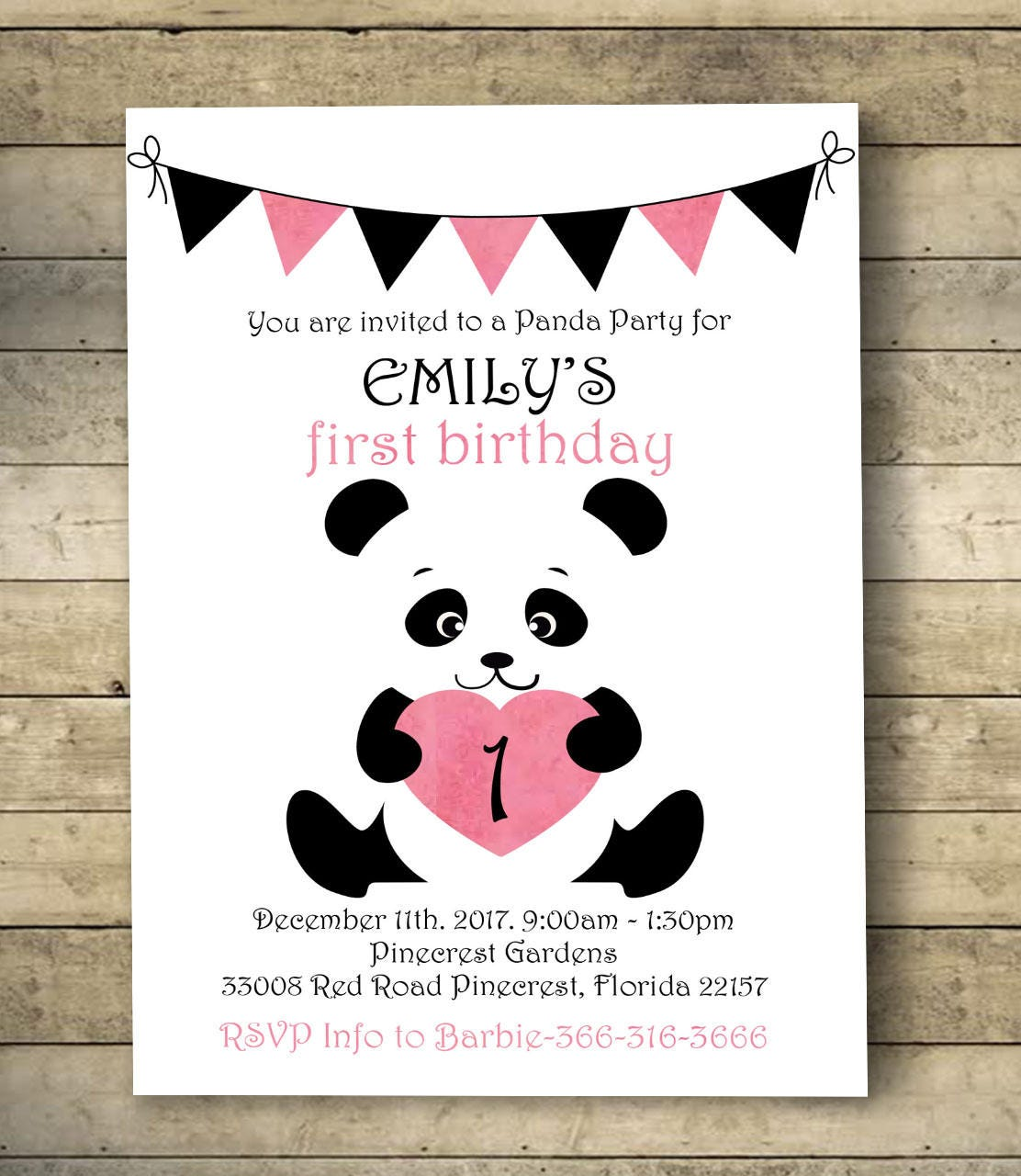 Panda Birthday Invitation Panda Invitation Birthday Invitation