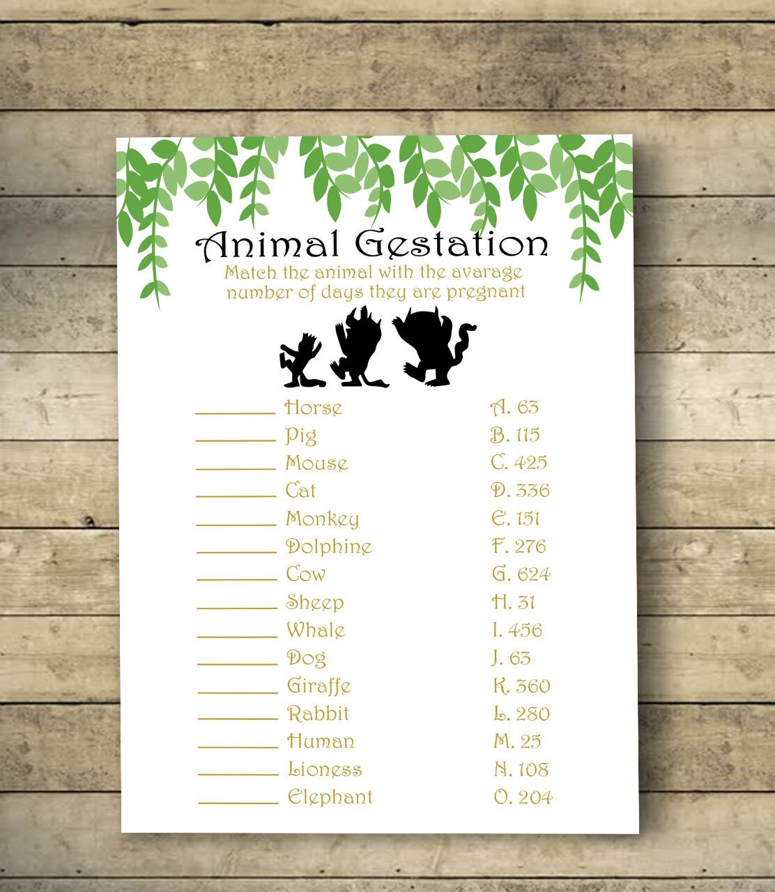 Where the wild things are Animal Gestation, Baby Shower Games, Animal  Pregnancy Game, Where the wild things are Baby Animals Match Game