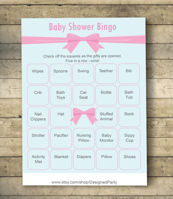 Pink Ribbon Baby Shower Bingo Cards Baby Shower Bingo Game Etsy
