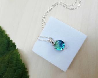 Bi-Colour Blue Green Tourmaline Crystal Necklace, Silver Pendant, Tourmaline Round Pendant, Libra Star Sign