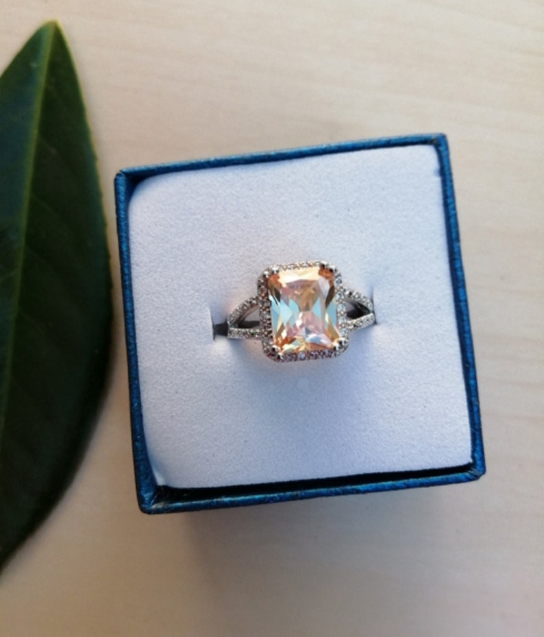 Taurus and Cancer Stone of Unconditional Love Morganite Square Cut Ring Star Signs Morganite Princess Cut Crystal Ring