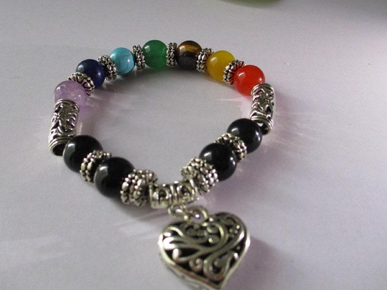 Seven Chakra Bracelet With Silver Heart Natural Beaded Black Obsidian 7 Stone Chakra  Puffy Heart Charm Bracelet Balance Yoga
