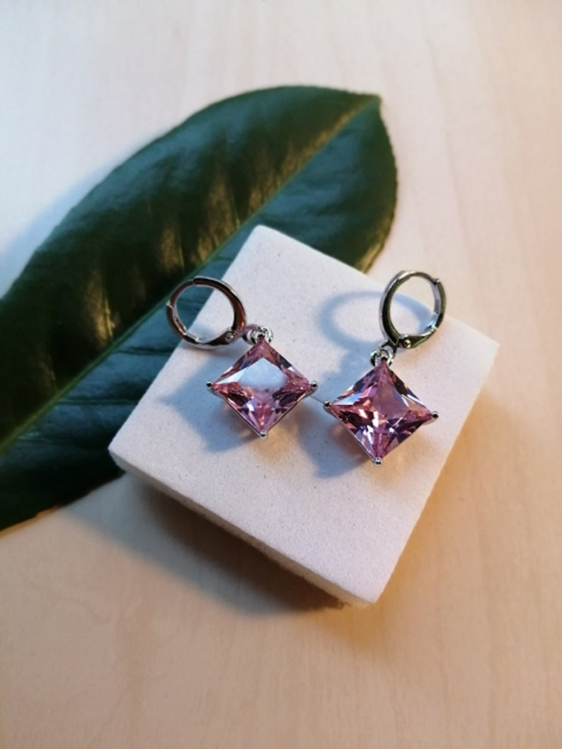 Topaz Square Crystal Earrings Pink Topaz Earrings Princess Cut Pink Topaz Earrings Sagittarius Star Sign
