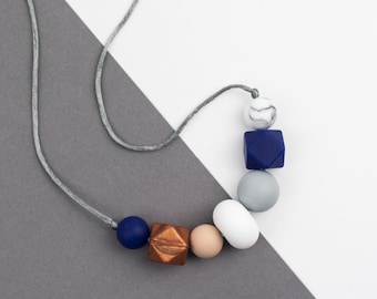 """Silicone Mum Necklace """"Kate"""", breastfeeding necklace, Mum jewellery, copper, marble, geometric, asymmetrical, navy"""