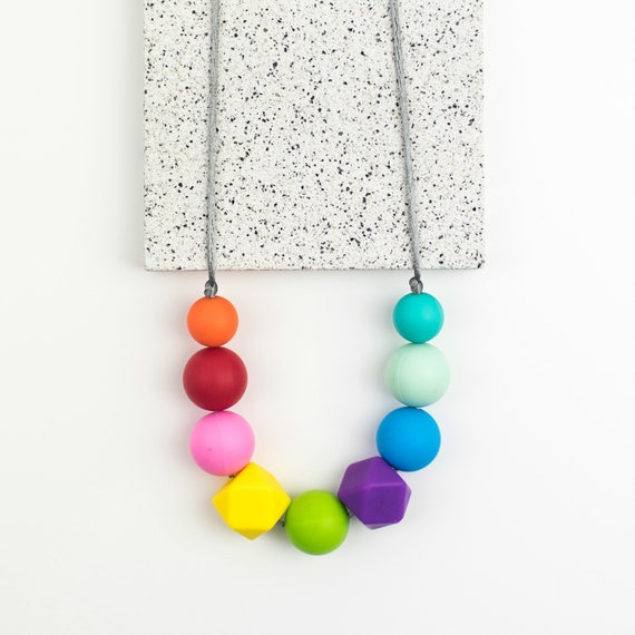Silicone teething necklace teething necklace rainbow  1c1c9a7ffe3