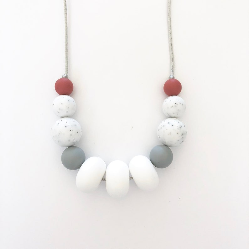 Silicone Teether Teething Nursing Necklace Blue Gray Baby Shower Gift USA Newbor