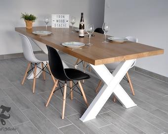 Table, Salle à Manger,industriel, Industrielle, Chêne, Acier IPN, Bois,  Vintage, Sur Mesure, Ironwoodstache