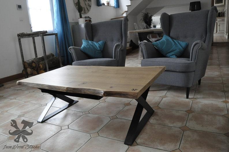 Table Basse Chene Industriel Table De Salon Metal Acier Metal Vintage Sur Mesure Ironwoodstache