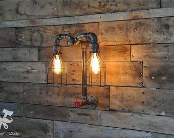 Lampe murale, Double, vintage, Aries, industriel, industrial, light, applique, luminaire, lamp, industrielle, Edison, Ironwoodstache LM03