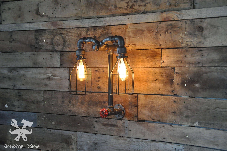 Fabriquer Une Lampe Style Industriel lampe murale, double, vintage, aries, industriel, industrial, light,  applique, luminaire, lamp, industrielle, edison, ironwoodstache lm03