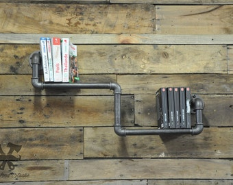 Wall library, Range books, plumbing, industrial, vintage, wall-mounted bookcase, industrial pipe shelf, ironwoodstache, shop