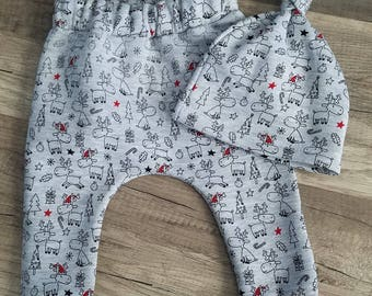 Christmas reindeer joggers with hat