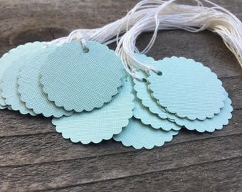 """Tags Scalloped Circle 25 Mint Green Cardstock Gift Tags Price Tags 1 1/2"""" Tags with Ties Party Favor Tags White Twine Circle Tags Gifts Fun"""