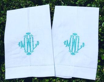 Monogrammed Linen Guest Towel, Monogram Hand Towel, Linen Hand Towel