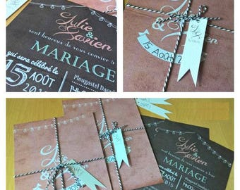 Vintage retro wedding invitation