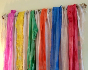Rainbow art tapestry wall hanging extra long, tall vertical Great room decor, wedding gift, fabric sculpture multicolor, foyer decoration
