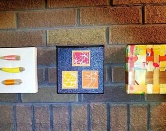 Art set of 3, bookshelf art collection, orange boho wall decor, small eclectic paintings, mixed media, multicolor artwork, housewarming gift
