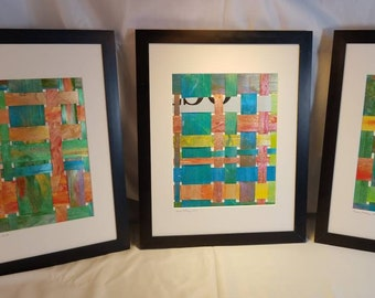 Contemporary office decor, Set of 3 woven wall art, framed artwork, housewarming gift, over the couch, above the bed, wedding present