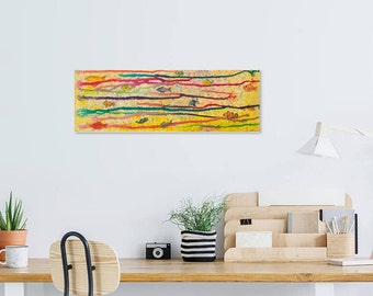Multicolor fish collage, ocean art, canvas art print, colorful horizontal artwork, gift for fisherman, waiting room, yellow play room decor