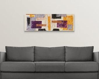 African canvas, horizontal wall art print,  housewarming gift, 16 x 48, long narrow neutral painting, Wedding present, safari office decor