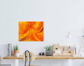 Phoenix rising vibrant orange art, canvas PRINT, bold yoga studio decor, neon red artwork, inspirational get well gift, healing art