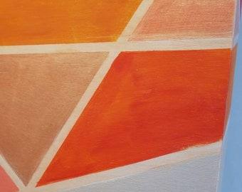 Long narrow geometric wall art, acrylic painting on wood, orange and pink, warm colored, girls room artwork, womens office decor, 8 x 24