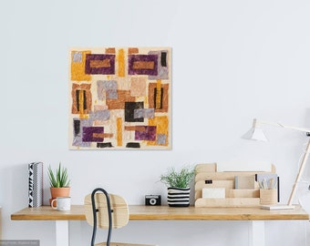 African art depicting Kenya, mixed media, 30 x 30, neutral painting, large artwork, ethnic decor, gold and silver, wall hanging, 30 x 30