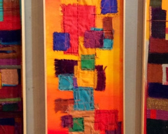 Bold orange sewn wall art, Abstract Art, Modern textile art trending now, MultiColor art by Susan D Sharp, 12 x 36 Contemporary weaving