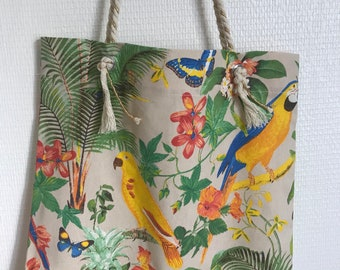 Tote bag tropical patterns and cockatoo