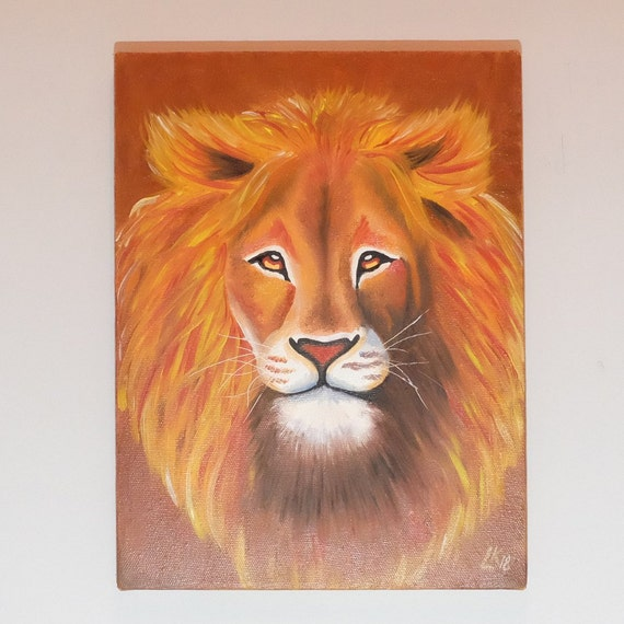 Lion Original Oil Painting On Canvas Lion Abstract Painting Contemporary Art Lion Decor Animals Oil Paintings Lion Art Gift For Kids