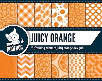 Orange digital paper | summer orange zest | orange fruit digital paper pack | citrus zest | citrus summer pattern | orange juice pattern