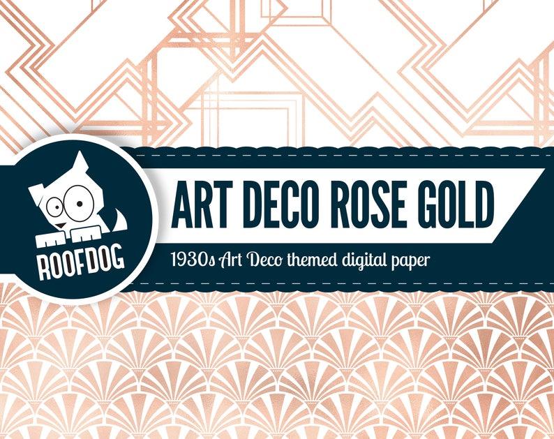 Art Deco vintage rose gold 1920s gold rose gold foil Art Deco rose gold digital paper 1930s floral pattern Rose gold and white