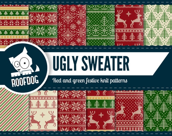 Ugly Christmas Sweater Pattern.Ugly Sweater Christmas Digital Paper Christmas Sweater Pattern Red And Green Festive Paper Pack Instant Download Knit Texture Nordic