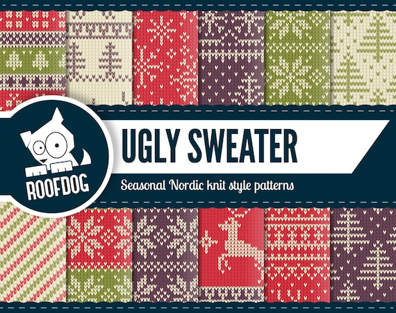 Christmas Sweater Pattern.Ugly Sweater Christmas Digital Paper Christmas Sweater Pattern Nordic Knit Paper Pack Instant Download Ugly Jumper Winter Background