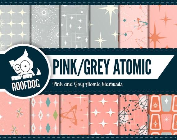 Atomic Starburst Digital Paper Mid Century Modern Starburst Pink