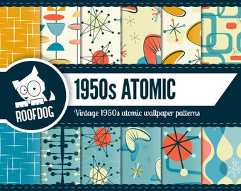Atomic digital paper | 1950s Atomic pattern | mid century atomic digital paper pack | Retro atomic digital paper | mid century atomic space