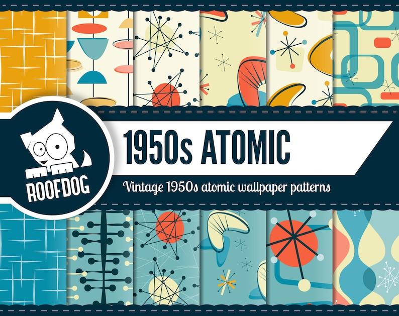 Atomic digital paper  1950s Atomic pattern  mid century image 1