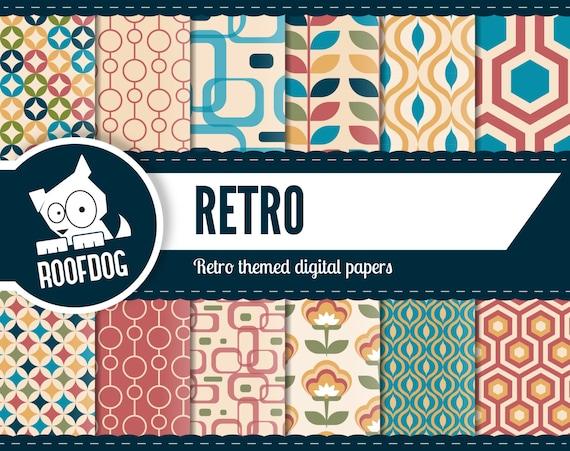 Retro Pattern Digital Paper Retro Style Patterns Digital
