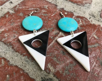 Tri colored mid century earrings