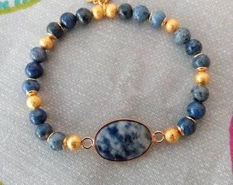 The Brazil Sodalite blue and gold bracelet