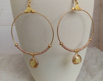 Hoop gold sequins and Crystal
