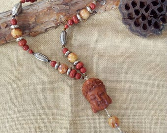 Long necklace of Gorgon (Coral) yellow calcite and Tiger eye