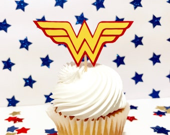 Wonder Woman Cupcake Toppers | Wonder Women Party Supplies | Wonder Woman Decorations | Girl Super Hero Party |