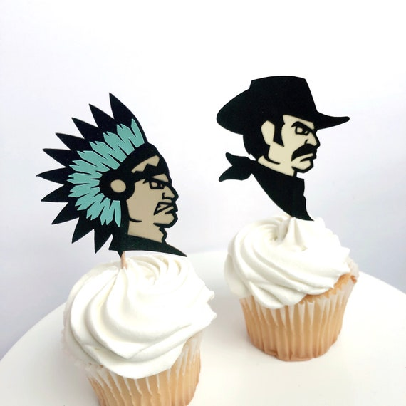 Set Of 12 Cowboys Indians Cupcake Toppers Western Party Etsy