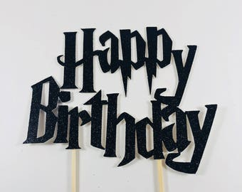 Harry Potter Cake Topper | Harry Potter Birthday Party Supplies | Happy Birthday Cake Topper | Hogwartz Birthday Party | Black Cake Topper
