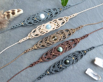Macrame boho bracelet, healing gemstone bracelet, woven bohemian bracelet, natural stone jewelry, womens crystal jewelry, gift for her