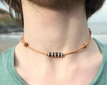 Leather Surfer Necklace, Choker Necklace, Surf jewelry, Adjustable necklace, Leather Jewellery, Bone necklace, Tribal Jewelry, boho jewelry
