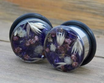Real Flower Plugs Teardrop Natural Flower Plugs Resin Double Flare Single Flare Babies Breath Purple Unique Custom Steel Nature Gauge Gauges